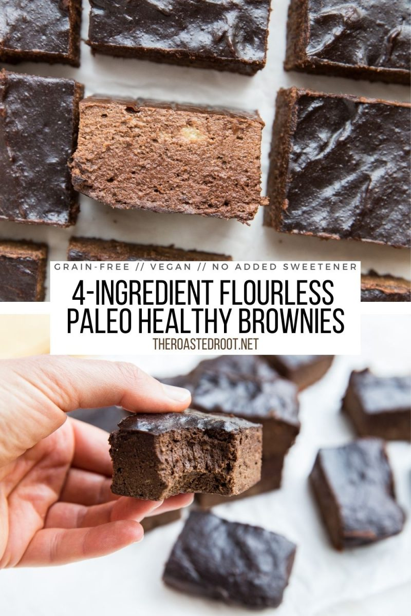 4-Ingredient Vegan Paleo Brownies - flourless, dairy-free, refined sugar-free, oil-free and delicious! Moist, fudgy, super rich and chocolatey!