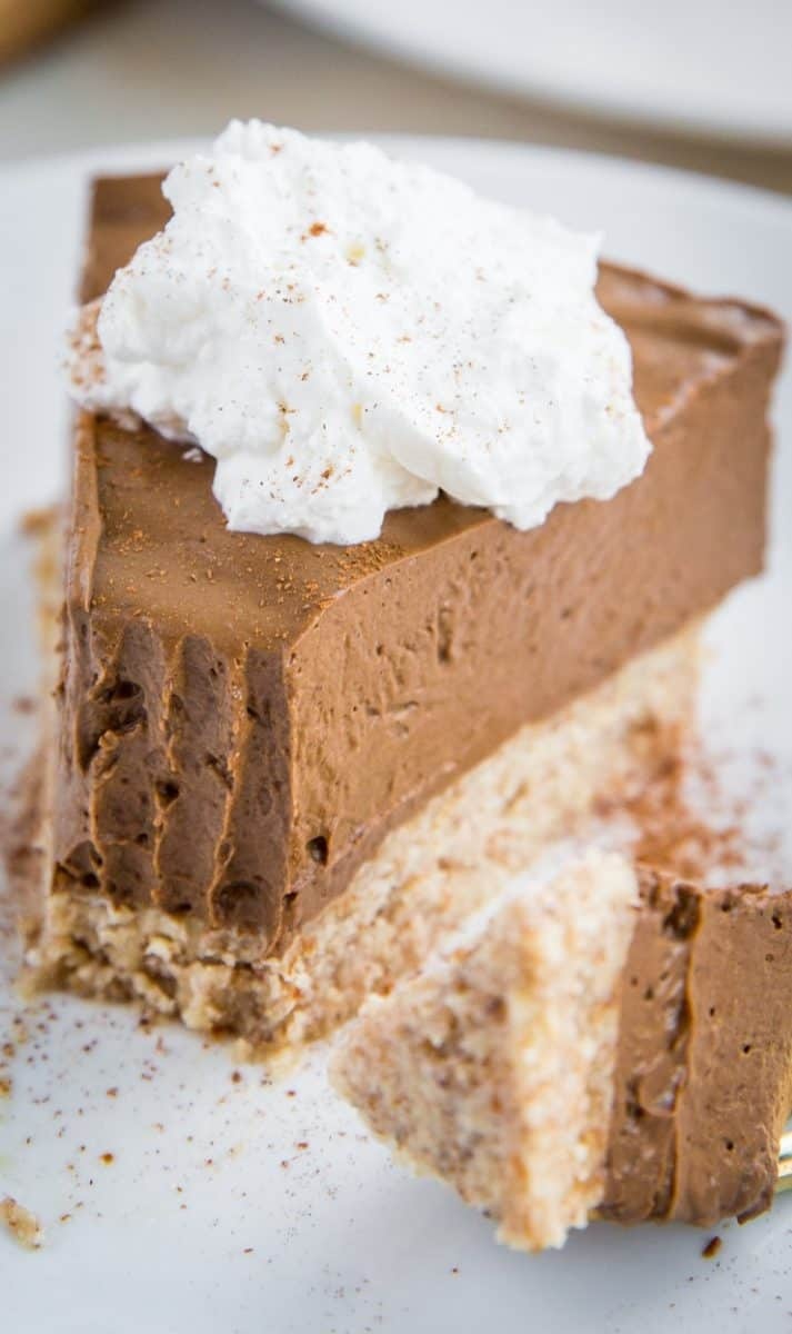 Keto Chocolate Pie - low-carb, dairy-free French silk pie made sugar-free and grain-free for a healthy chocolate pie recipe