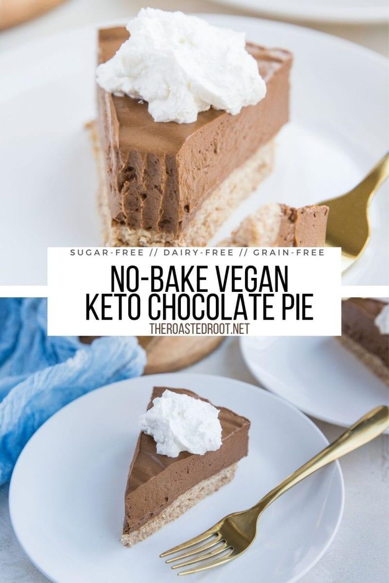 Keto Chocolate Pie - no-bake, grain-free, dairy-free, vegan, sugar-free low-carb chocolate pie recipe. Easy to make and so rich and creamy!