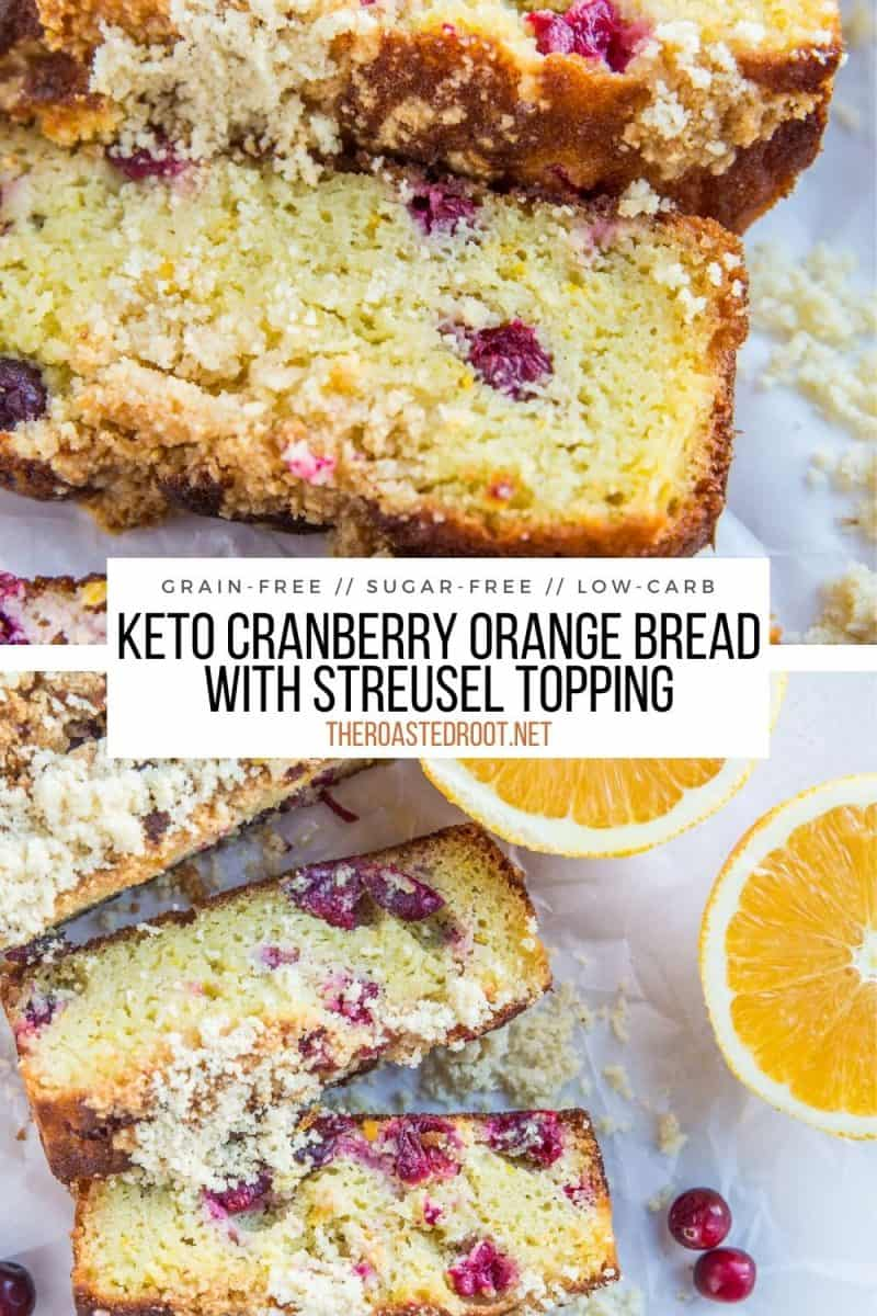 Grain-Free Cranberry Orange Bread made with coconut flour and sugar-free sweetener. Low-carb, keto, and delicious