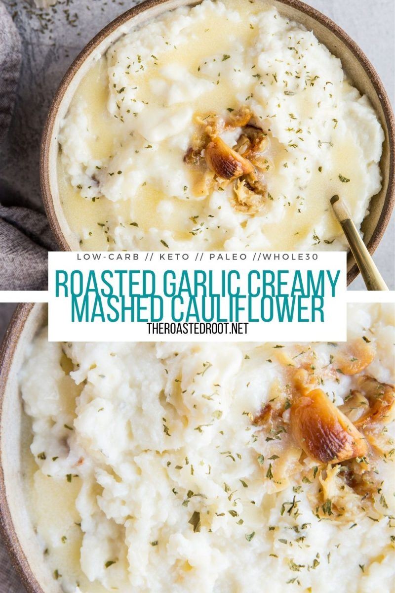 Roasted Garlic Creamy Mashed Cauliflower - low-carb, keto, paleo, whole30, a low-carb replacement for mashed potatoes