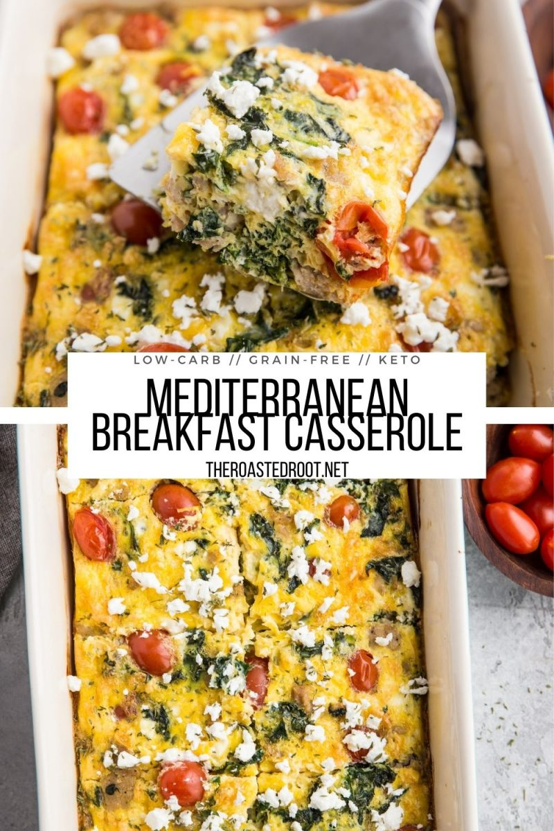 Keto Mediterranean Breakfast Casserole with Sausage, Kale, Feta, and Tomatoes - a healthy breakfast recipe that is low-carb and delicious