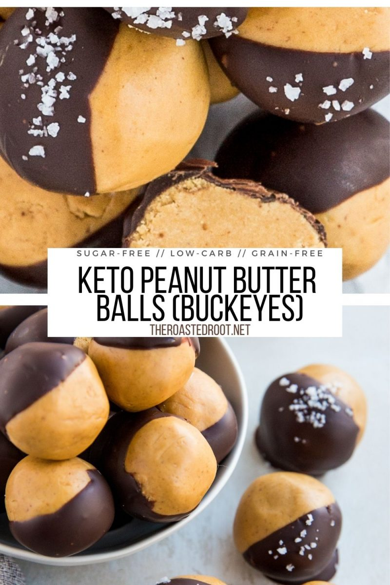 Keto Peanut Butter Balls (Buckeyes) - chocolate-covered peanut butter fudge made sugar-free and grain-free - an easy healthy dessert recipe