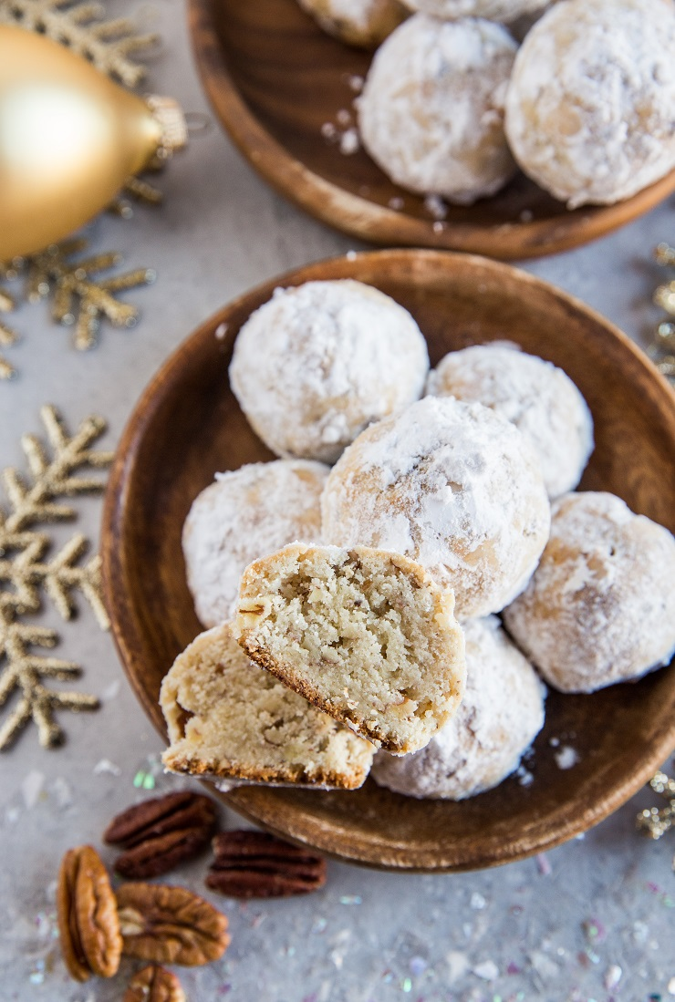 Keto Pecan Snowball Cookies made with almond flour, coconut flour and sugar-free sweetener - rich buttery and delicious low-carb cookie recipe