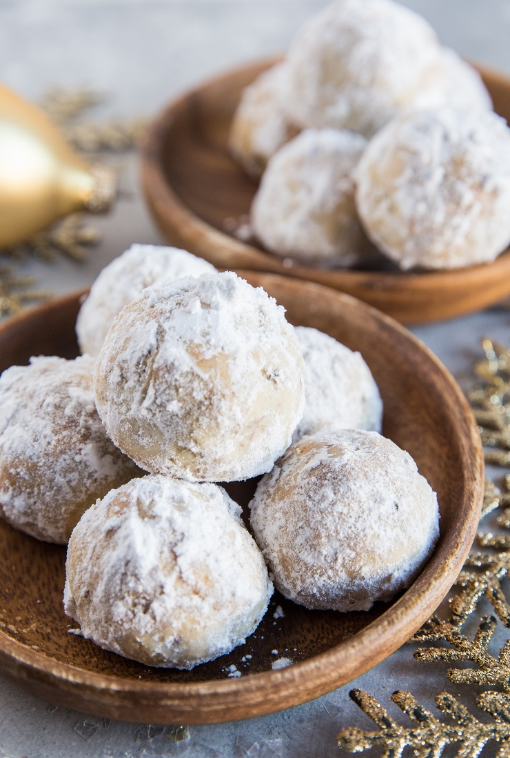 Keto Low-Carb Snowball Cookies made with almond flour and coconut flour - sugar-free healthier Christmas cookie recipe