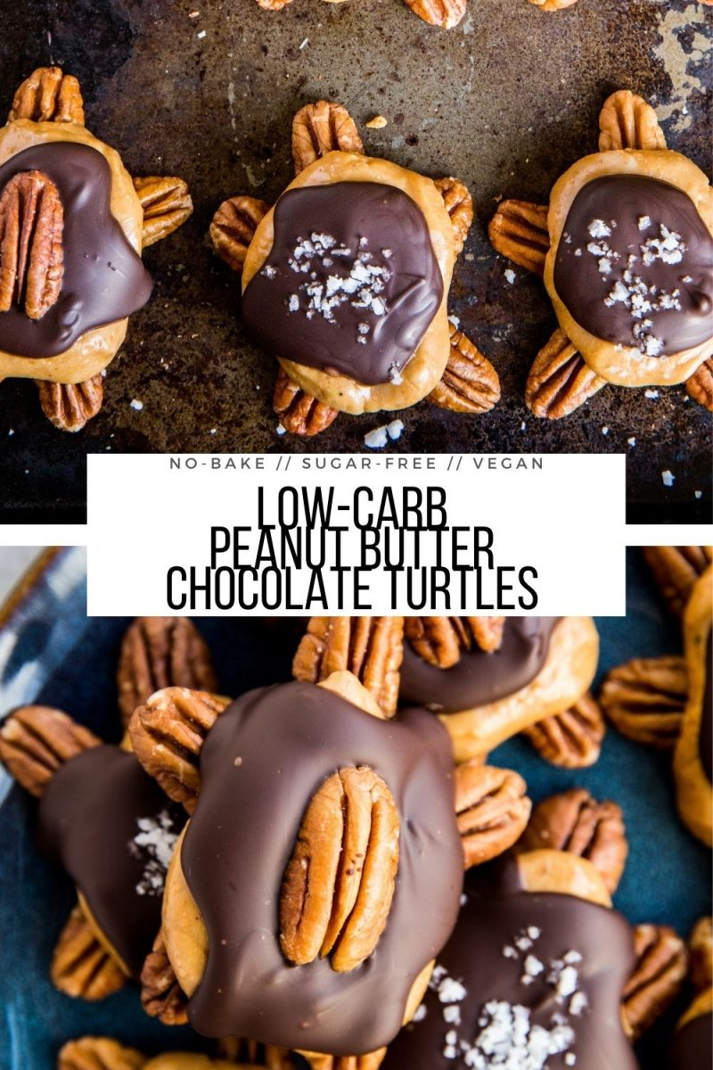 Low-Carb Chocolate Pecan Turtles with peanut butter - vegan, no-bake, dairy-free, sugar-free adorable easy candy recipe