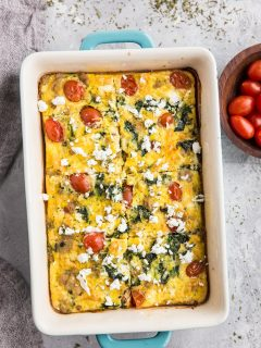 Mediterranean Breakfast Casserole - Low-carb egg casserole (or crustless quiche/frittata) with chicken sausage, feta cheese, tomatoes and kale - easy, flavorful and delicious!