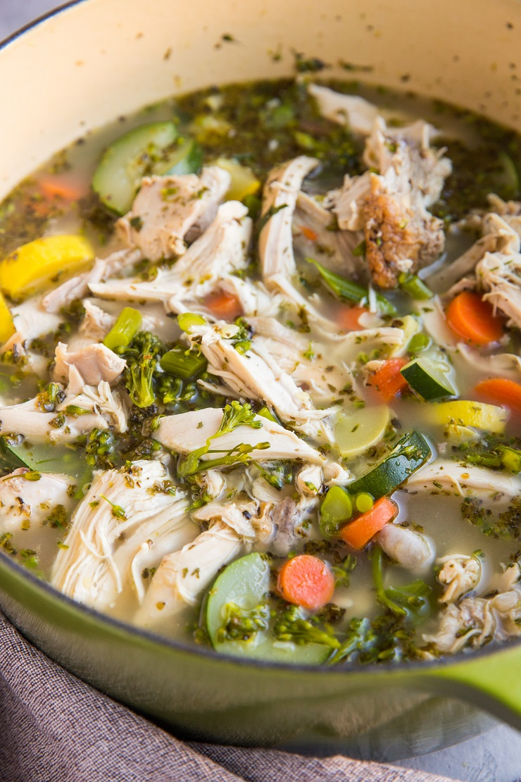 Quick and easy Rotisserie Chicken Soup made with store-bought rotisserie chicken. Paleo, whole30, keto, delicious