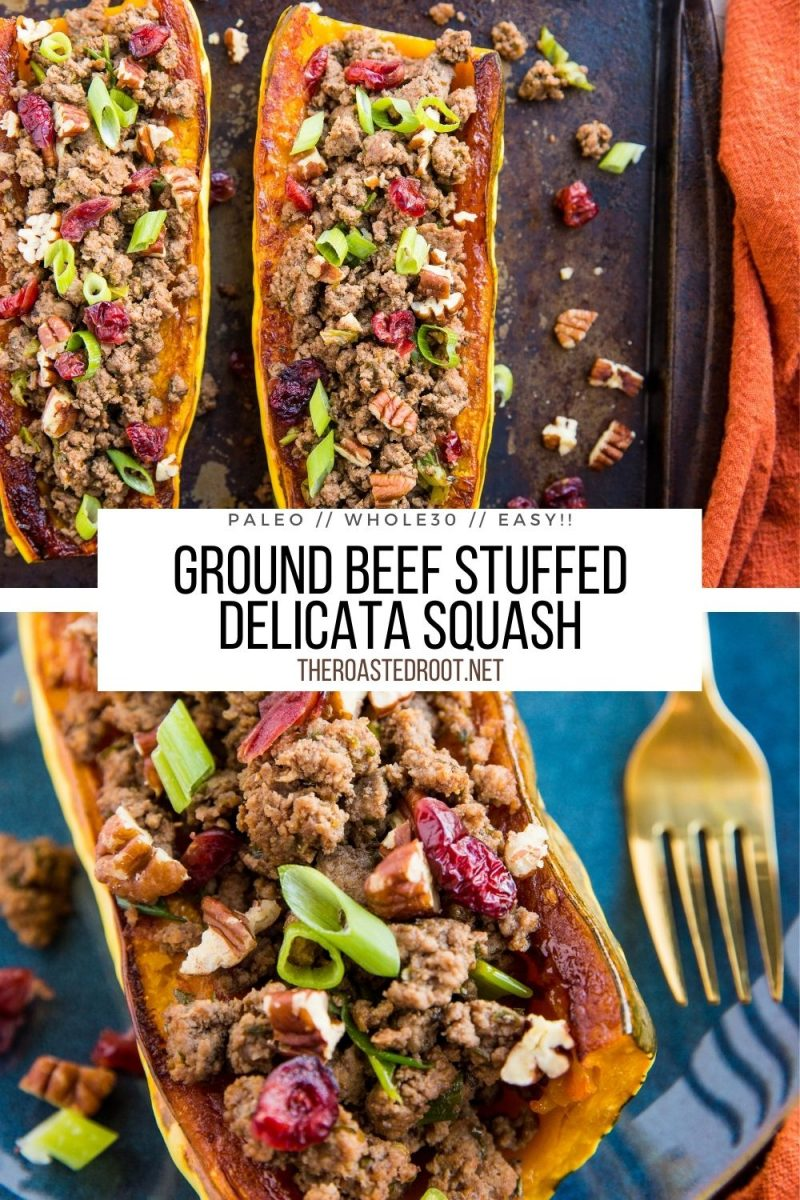 Stuffed Delicata Squash with Ground Beef, dried cranberries, pecans, and green onion - a simple, filling clean dinner recipe. Paleo, whole30, grain-free, delicious!