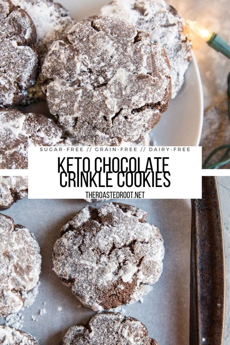 Keto Chocolate Crinkle Cookies made with almond flour, coconut oil and sugar-free sweetener. Low-carb, dairy-free, healthy cookie recipe