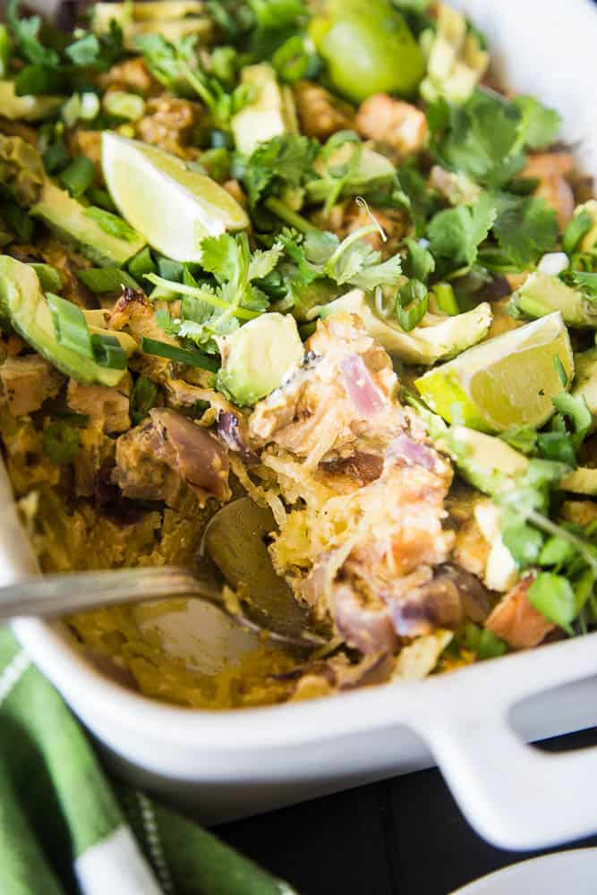 Green Chile Chicken Spaghetti Squash Bake