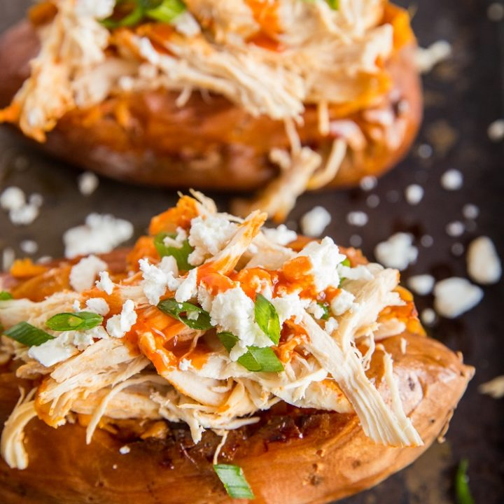 Buffalo Chicken Stuffed Sweet Potatoes - quick, easy dinner recipe with only a handful of basic ingredients!