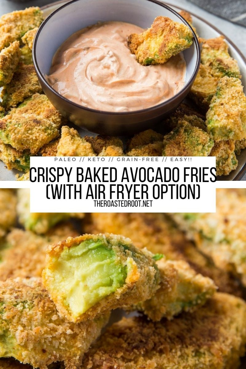 Grain-Free Baked Avocado Fries with an Air Fryer Option - crispy baked avocado fries are delightfully crispy, are low-carb, gluten-free, and make for an amazing appetizer or snack.