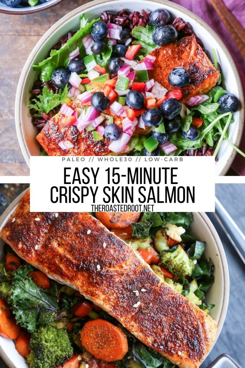 Easy 15-Minute Crispy Skin Salmon made in 15 minutes in the oven