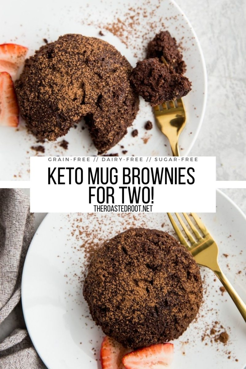 Dairy-Free Keto Mug Brownies for two! An easy recipe for small batch brownies that are sugar-free and grain-free!