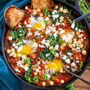 Eggplant Chickpea and Chard Shakshuka - a healthy delicious poached eggs in tomato sauce recipe.