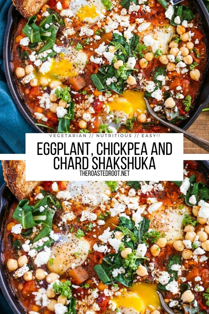 Eggplant Chickpea and Chard Shakshuka Recipe - an easy, flavorful poached eggs in tomato sauce - vegetarian breakfast lunch or dinner recipe