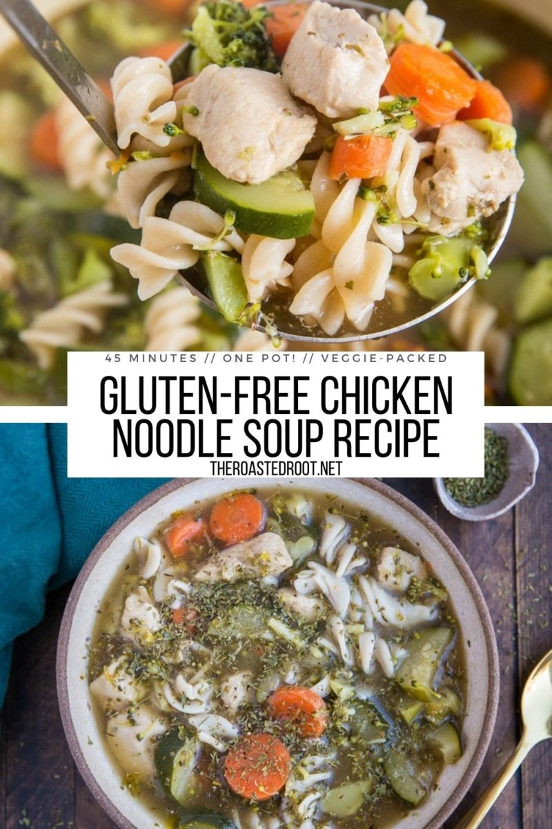 Easy Gluten-Free Chicken Noodle Soup with vegetables - a quick, healthy chicken soup recipe!