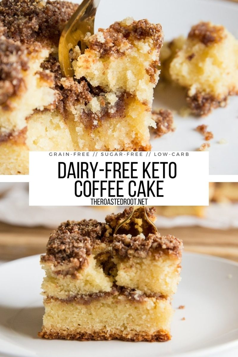 Low-Carb Keto Coffee Cake made grain-free and sugar-free. A moist, fluffy, amazing breakfast or snack