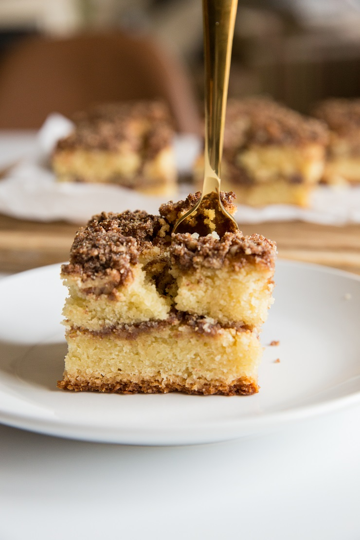 Grain-Free Keto Coffee Cake made dairy-free and sugar-free. Moist, fluffy, healthy and delicious!