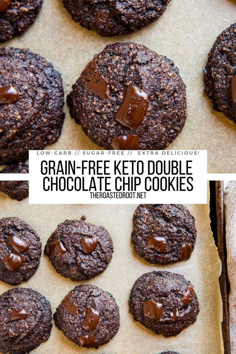 Keto Double Chocolate Chip Cookies - grain-free, sugar-free, low-carb cookie recipe that is rich and chocolatey