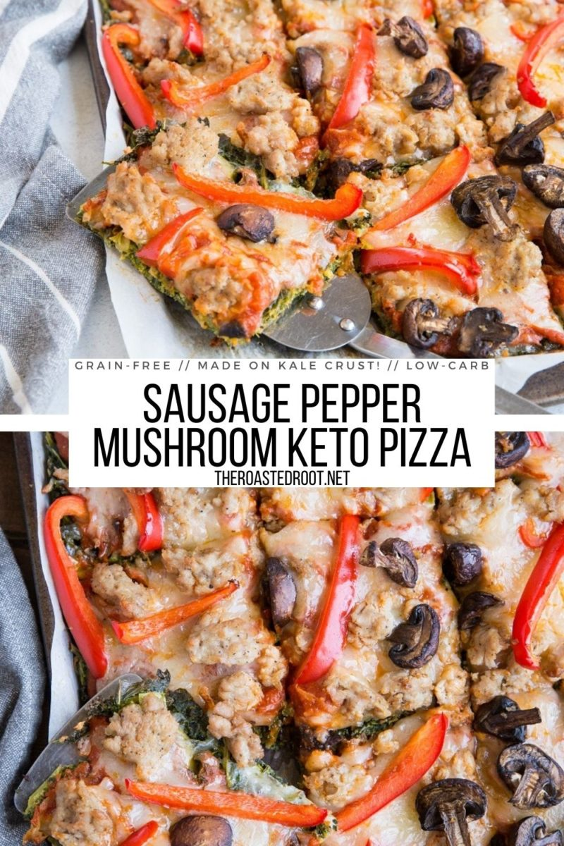 Keto Sausage Pizza on KALE crust! Grain-free, flourless, healthy pizza recipe with sausage, mushrooms, garlic, sun-dried tomatoes and peppers