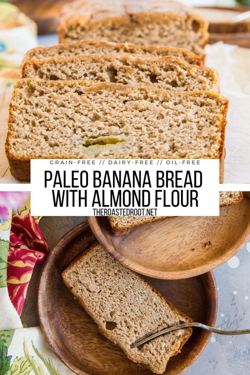 Healthy Almond Flour Paleo Banana Bread made grain-free, dairy-free, oil-free and refined sugar-free