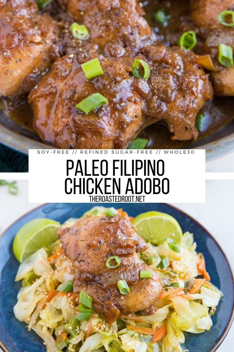 Easy Paleo Filipino Chicken Adobo Recipe - soy-free, refined sugar-free, amazing tender chicken recipe that is healthy, whole30 and delicious!