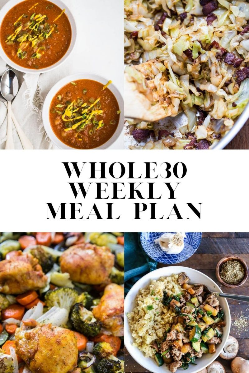 Whole30 Meal Plan - a healthy anti-inflammatory meal plan ideal for those doing a Whole30 or eat paleo. Print the grocery list to make your Whole30 super easy and stress-free!