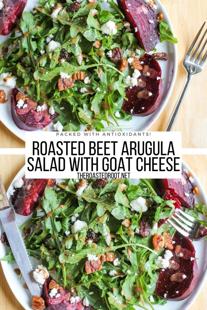 Roasted Beet Arugula Salad with Goat Cheese, Pecans, Dried Cranberries and homemade balsamic vinaigrette - flavorful, loaded with nutrients!