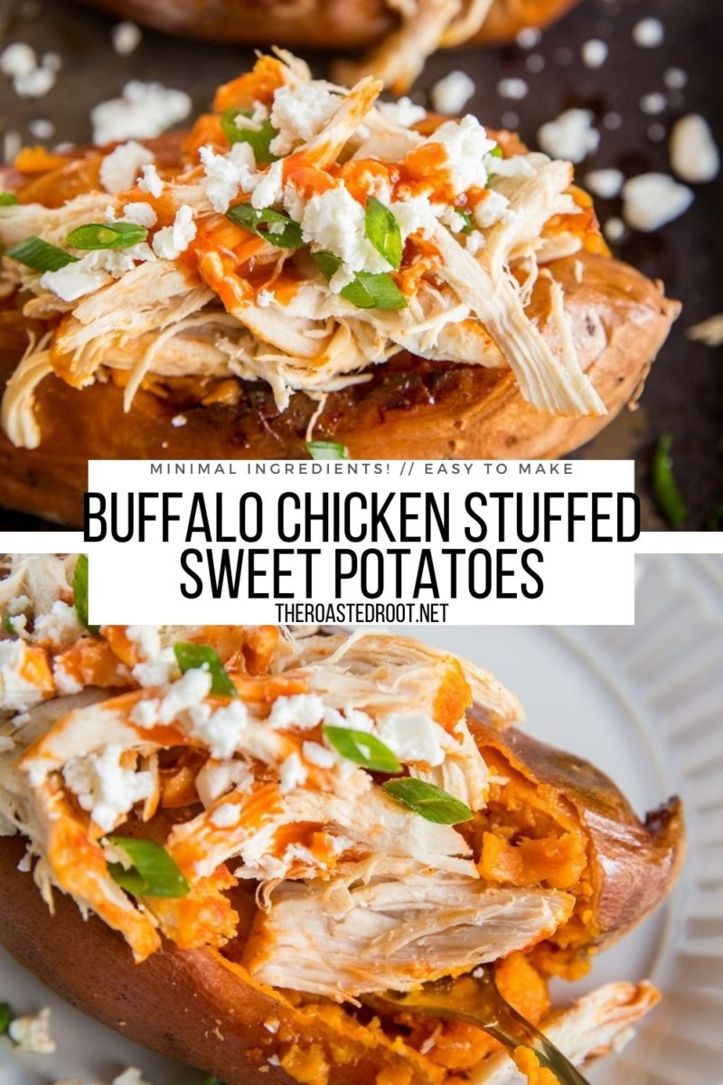 Shredded Buffalo Chicken Stuffed Sweet Potatoes with green onions and feta cheese are a healthy dinner recipe or even appetizer for game day!