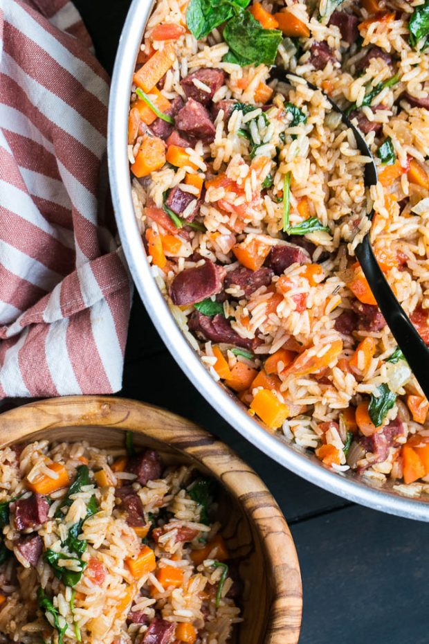 Cajun Sausage and Rice Skillet with Vegetables