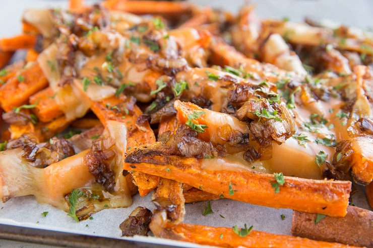 Animal Style Sweet Potato Fries - loaded fries recipe with cheese, caramelized onions and special sauce