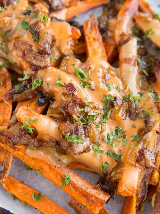 Sweet Potato Animal Style Fries - loaded fries with cheese, caramelized onions and special sauce