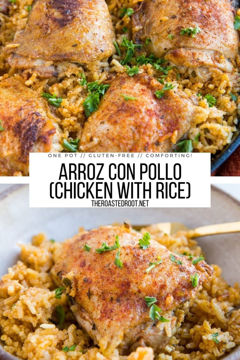 Arroz Con Pollo (Chicken with Rice) made in one pot using 10 ingredients! This simple and comforting recipe is amazing comfort food!
