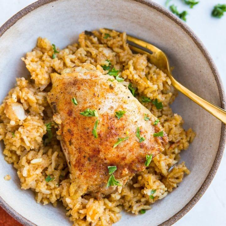 Quick and simple Arroz Con Pollo - a basic, delicious recipe for chicken and rice