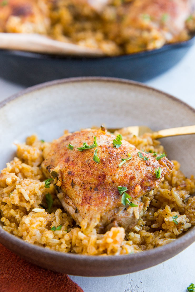 Easy One-Skillet Arroz Con Pollo Recipe - a quick and simple nourishing dinner that is easy to make and full of flavor
