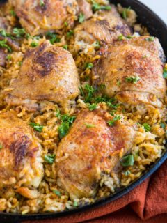 Arroz con Pollo recipe - an easy recipe for chicken and rice made in one pot or skillet.