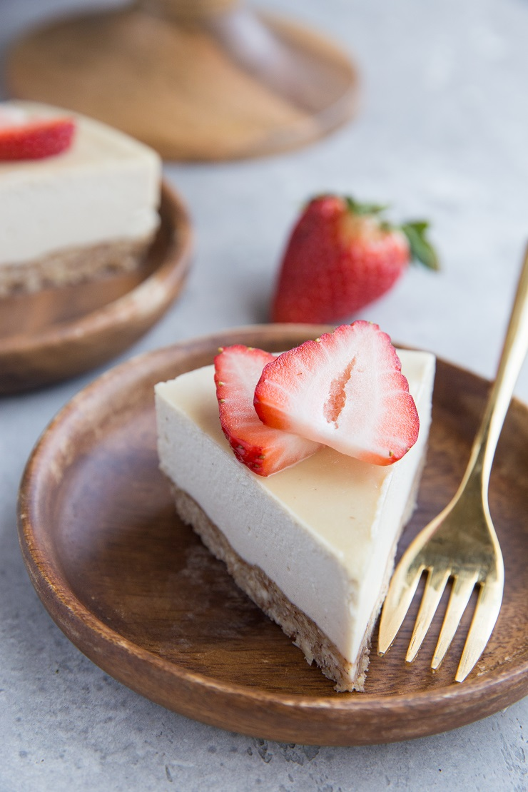 Healthier Cheesecake Recipe made paleo and dairy-free. Easy, creamy, delicious!