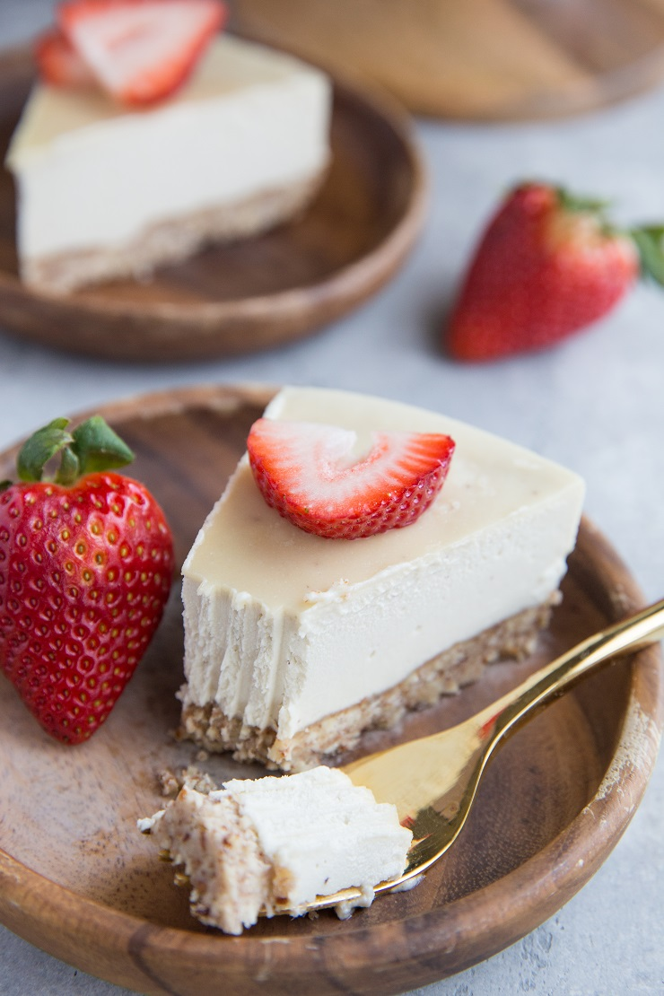 Dairy-Free Paleo Cheesecake recipe made with simple, clean ingredients. Grain-free and refined sugar-free