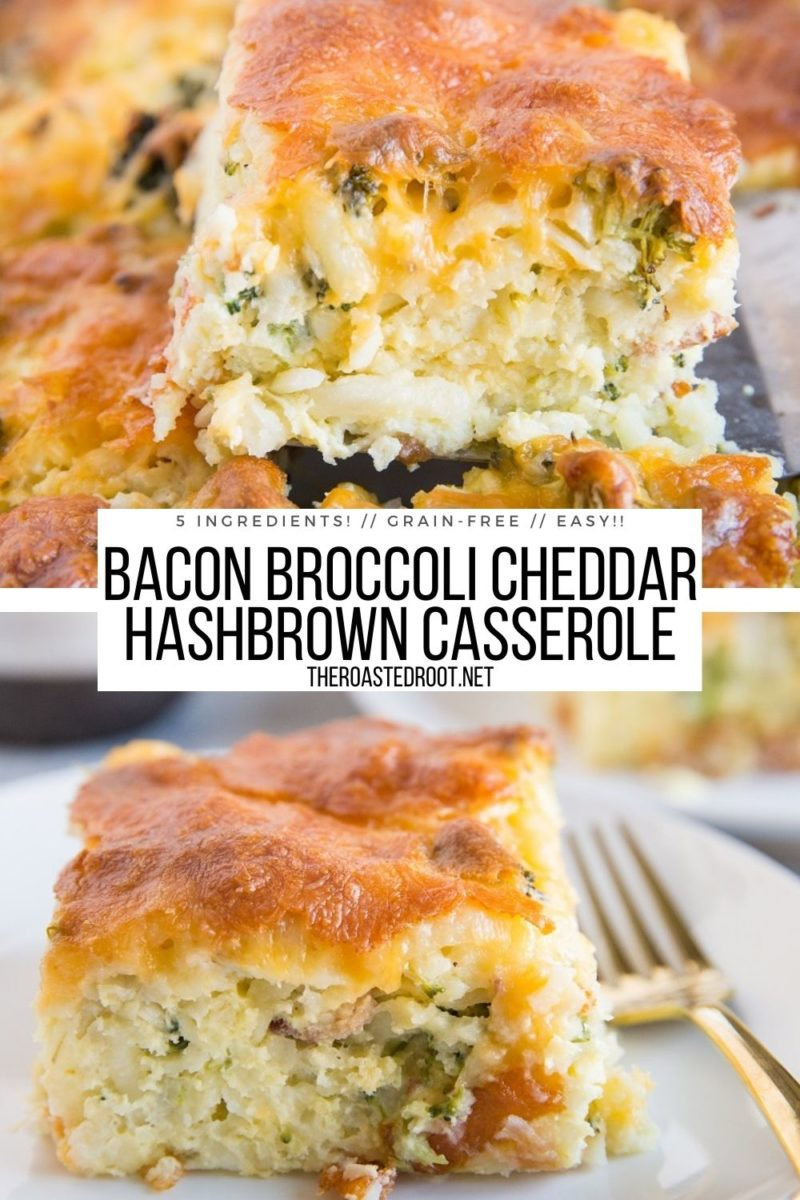 Broccoli Bacon Cheddar Hashbrown Breakfast Casserole Recipe - only 5 ingredients are needed for this delicious casserole!