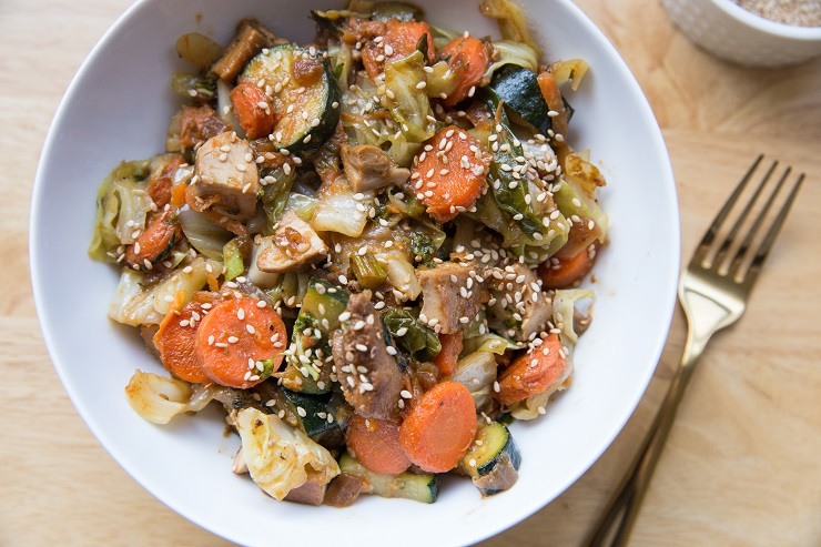 Healthy Egg Roll in a Bowl recipe with chicken and vegetables