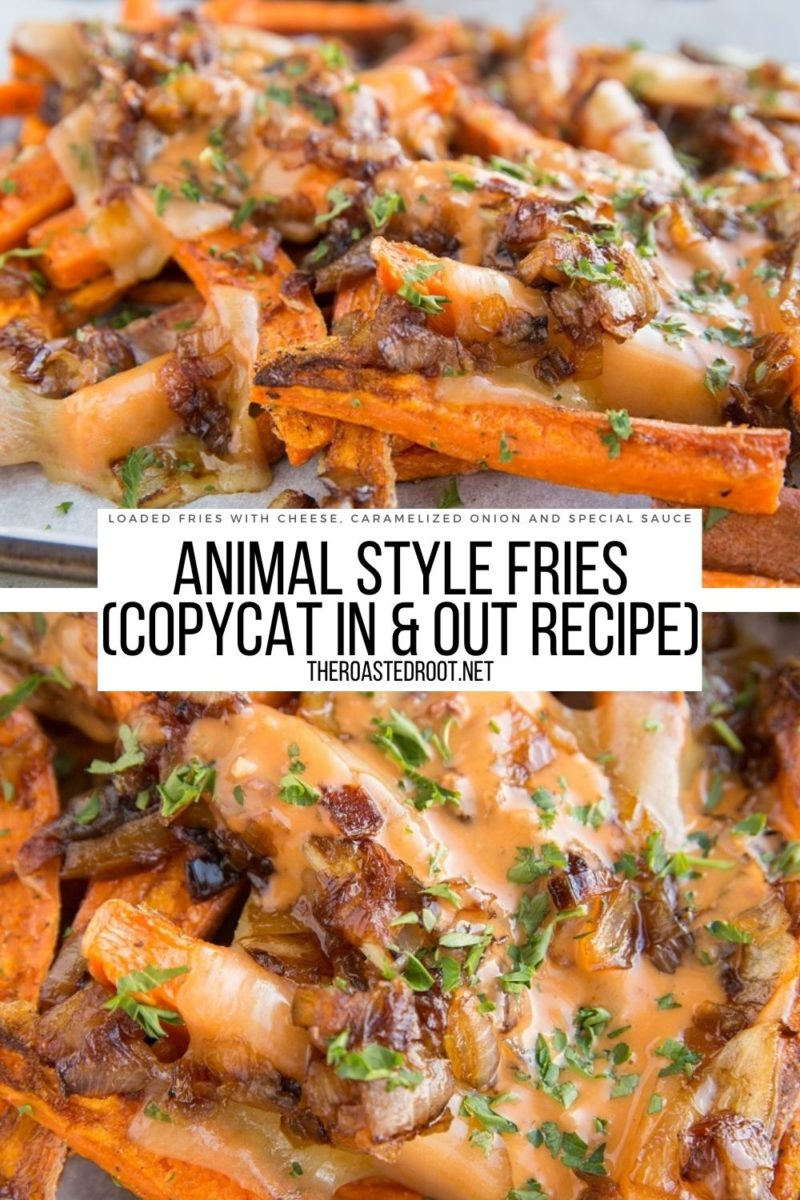 Copycat In & Out Animal Style Fries with sweet potato fries - cheese, caramelized onion and special sauce make these loaded fries amazing!