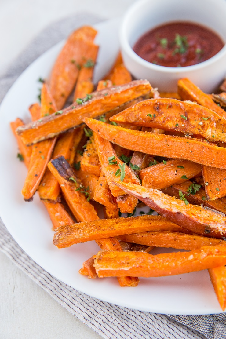 Crispy Sweet Potato Fries - a photo tutorial on how to make the crispiest, best sweet potato fries in the oven or air fryer!