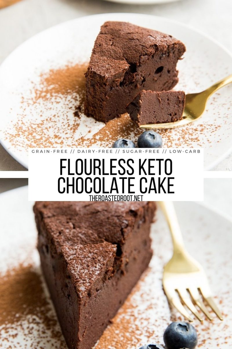 Grain-Free Flourless Keto Chocolate Cake - sugar-free, dairy-free, gluten-free, incredibly rich and decadent chocolate cake!