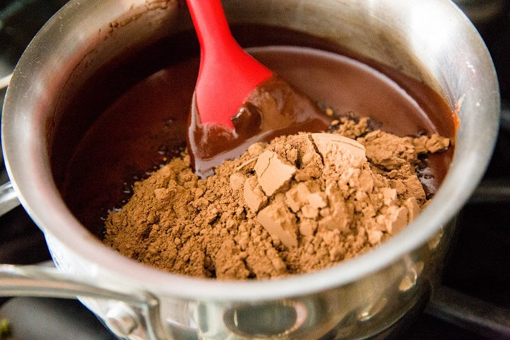 Stir in the sweetener and cocoa powder