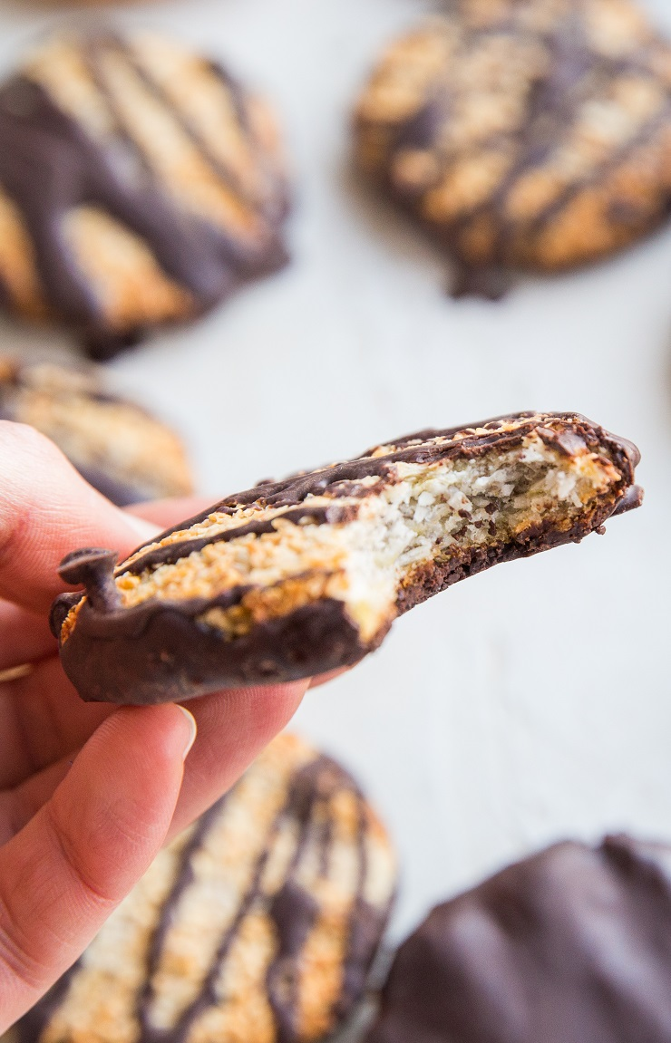Healthy Samoas (aka Caramel deLites) homemade copycat Girl Scout cookie recipe that is healthier
