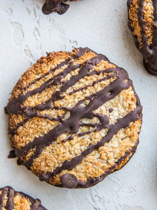 4-Ingredient Healthy Samoa Cookies - a copycat Girl Scout cookies recipe made healthier and paleo friendly