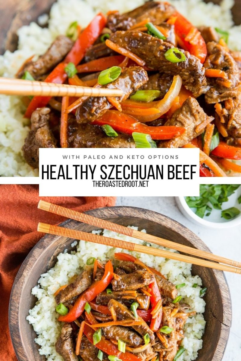 Healthy Szechuan Beef Recipe with paleo and keto options! A delicious, better than takeout dinner recipe