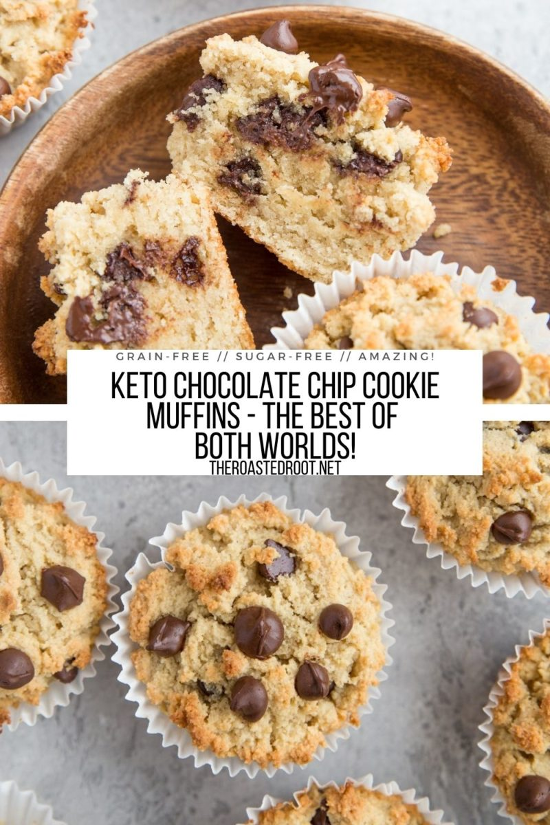 Keto Chocolate Chip Cookie Muffins - grain-free, sugar-free healthy cookies or muffins!